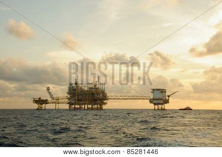 Oil and gas platform in the gulf or the sea,  Offshore oil and rig construction, Energy business.