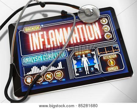 Inflammation on the Display of Medical Tablet.