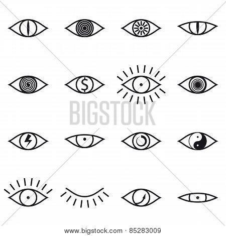 Set of Various Eye Icons on White Background