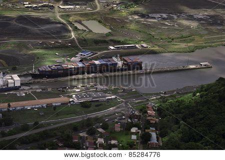 Cargo Ships at Miraflores Locks