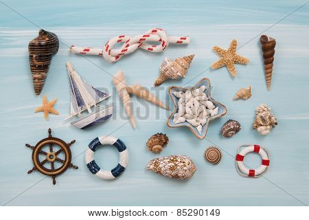 Maritime and nautical decoration for traveling concepts.