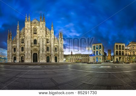 Panorama Of Duomo Di Milano (milan Cathedral) And Piazza Del Duomo In The Morning, Milan, Italy
