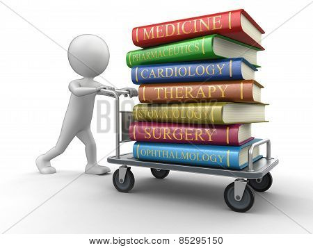 Man and Handtruck Medical textbooks (clipping path included)