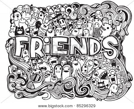 Hipster Doodle Monster Collage Background,Friends and friendly relationship social