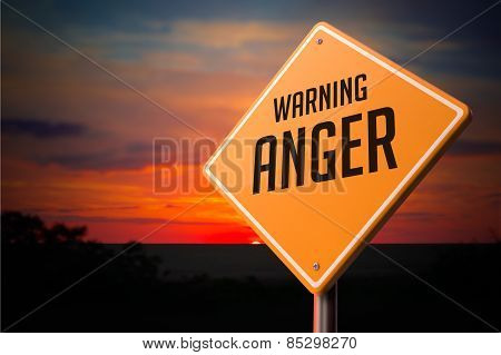 Anger on Warning Road Sign.
