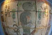 Egyptian art on painted bricks  Replica Close up with fish eye poster