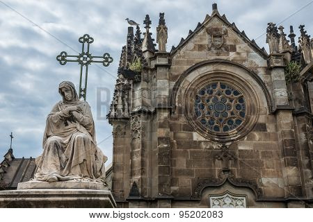 Barcelona, Spain - May 24, 2015: mausoleum at Poblenou Cemetery in Barcelona