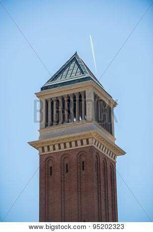 One of the two Venetian towers located at Placa d'Espanya in Barcelona Spain poster