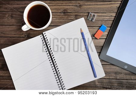 Empty Notepad With Tablet