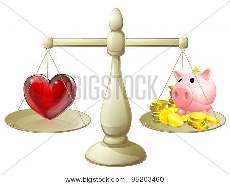 Love Or Money Balance Concept
