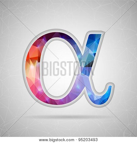 Abstract Creative concept vector icon of alpha for Web and Mobile Applications isolated on backgroun