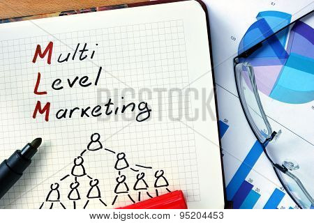 Notepad with Multi level marketing MLM.