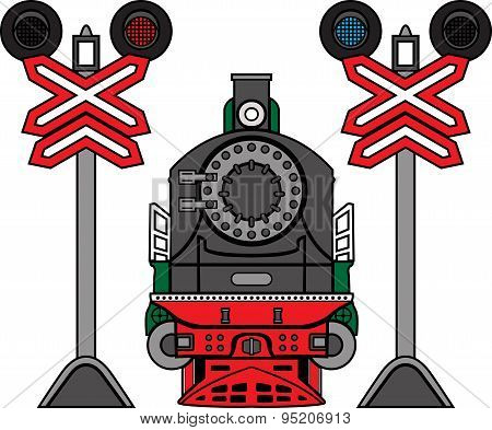 Locomotive and semaphores. rail set color illustration
