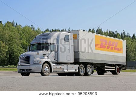 Grey Mack Vision Semi Truck Parked