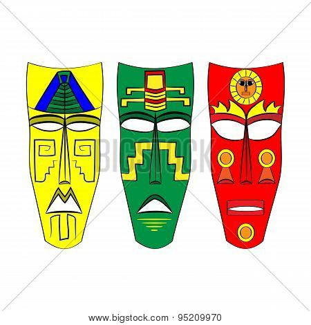Mask Aztec Ancestors Of Mexico On A White Background