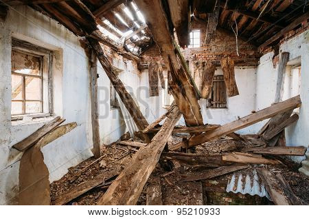 Abandoned Shed In Belarusian village. Chornobyl disasters. These abandoned homes and whole villages must be disposed poster