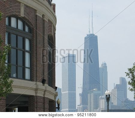 Pier building and skyline with John Hancock building