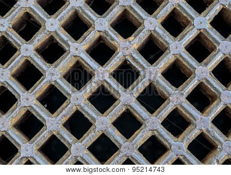iron sewer grate background