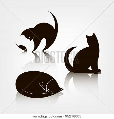 Vector set of black silhouette cat icons, logo templates. Cat playing with mouse, sitting cat, sleep