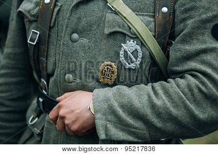 German military decoration on the uniform of a German soldier