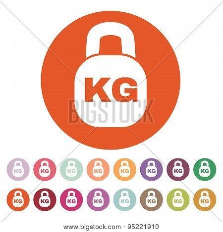 The Kilogram Icon. Kg And Weight Symbol. Flat