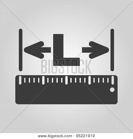 The Length Icon. Longitude, Yardage, Lgth Symbol. Flat