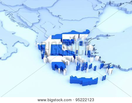 Europe Map, Greece With Flag. 3D Rendering