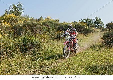 Biker Riding Enduro Motorcycle Beta Rr 400