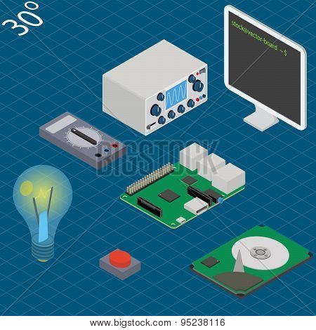 electronic research laboratory. Isometric illustration