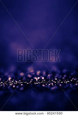 Dark Blue Defocused Bokeh Twinkling Lights Vintage Background. Festive Christmas Elegant Abstract Ba