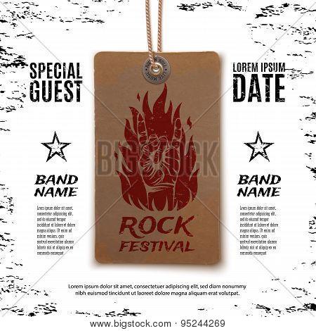 Grunge, rock festival poster.