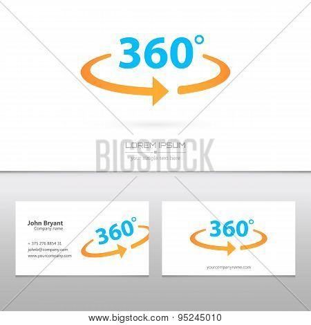 Abstract Creative concept vector image logo of 360 degrees for web and mobile applications isolated