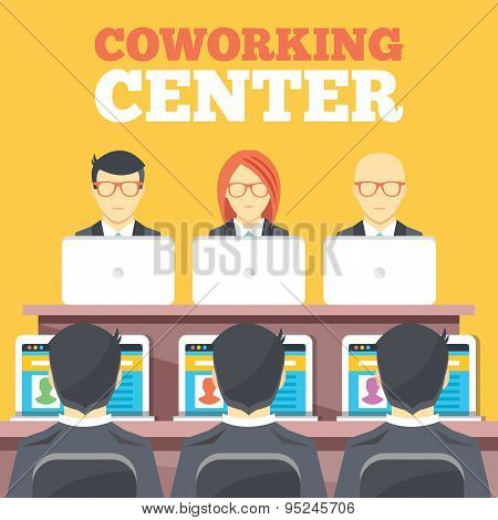 Coworking center, business meeting, office workplace flat illustration concepts set