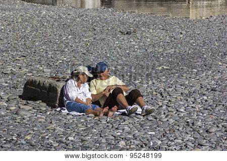 Senior Couple Relaxing In Camogli, Italy