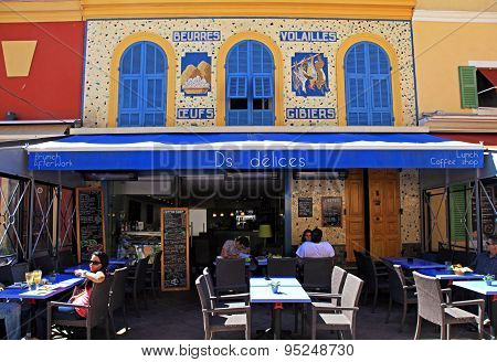 Outdoor Cafe With Typical French Cuisine