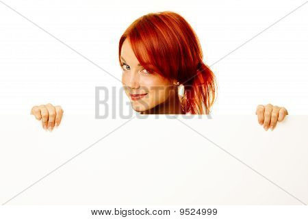 Woman Redhead Over White