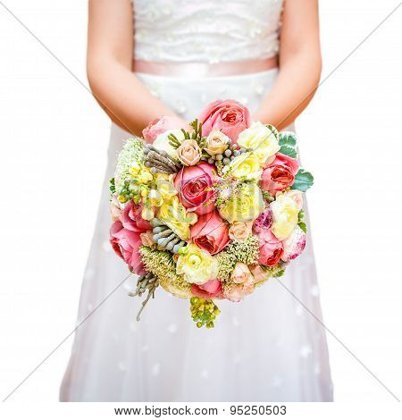 Bride flowers in hand isolated on white