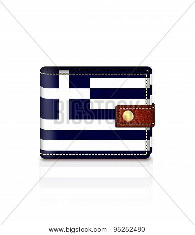 Wallet With Greek Flag Isolated Over White