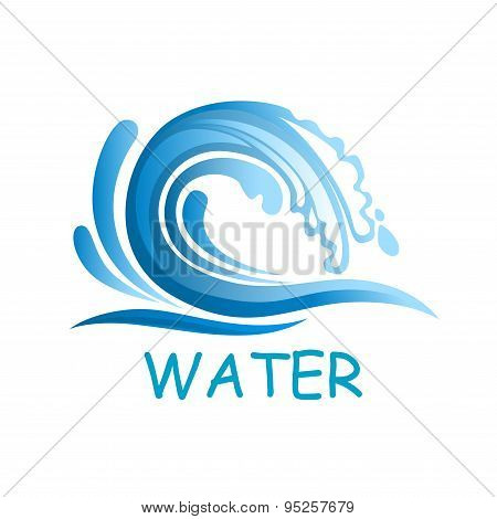 Blue wave with water splashes