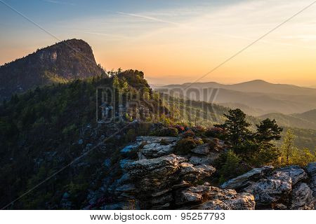 Sunrise from the Chimneys at the Linville Gorge Wilderness Area in the spring season on a warm morning poster