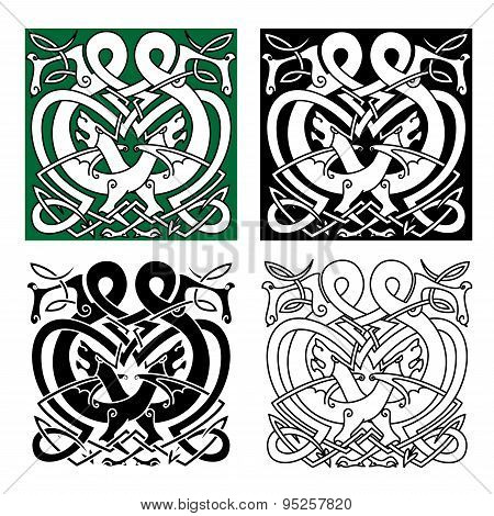 Fighting dragons with celtic knot ornaments