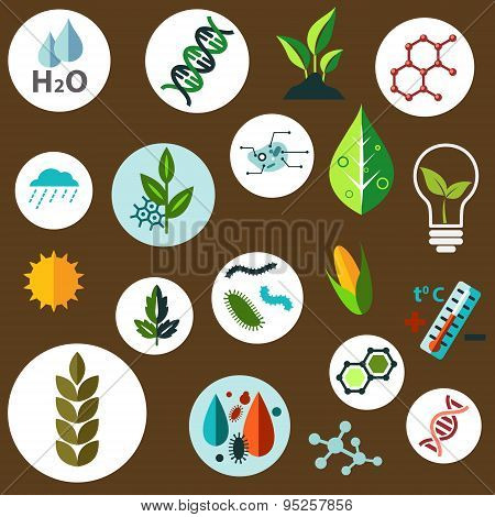 Science and agronomic research flat icons