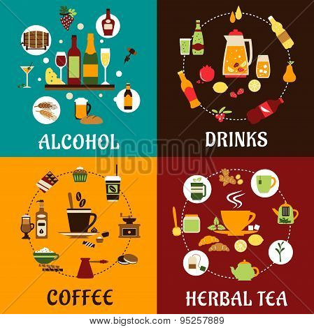 Beverages, snacks and drinks flat icons