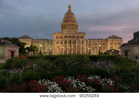 Texas Capitol Building With Mostly Cloudy Sky At Sunset