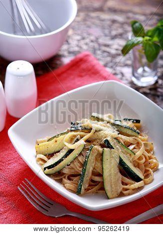 Italian Cuisine Fettuccini Zucchini