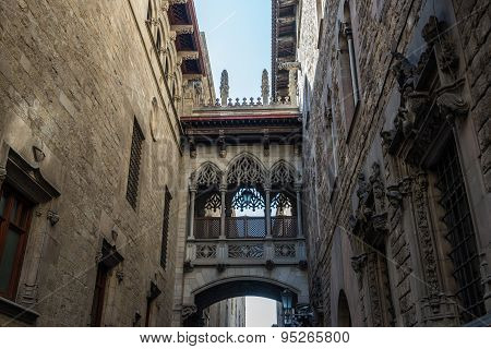 details of Palau de la Generalitat de Catalunya at Gothic Quarter in Barcelona Spain poster