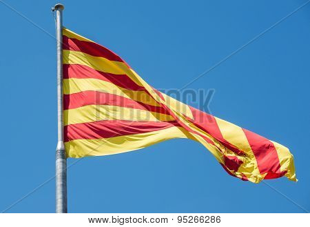 Catalan Republic flag in Montjuic Castle fortress on Jewish Mountain in Barcelona Spain poster