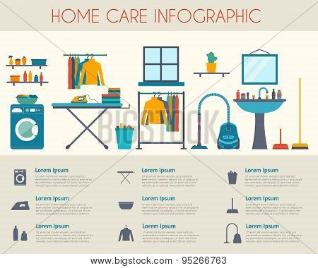 Home care and housekeeping infographic. Room with different housework icons. Flat style vector illustration. poster