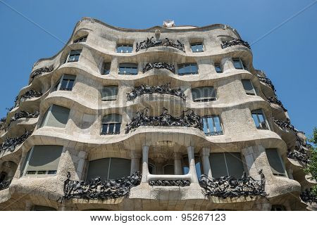 Barcelona, Spain - May 26, 2015: Casa Mila building by Gaudi in Barcelona