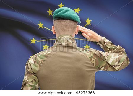 Soldier Saluting To Usa State Flag Conceptual Series - Indiana